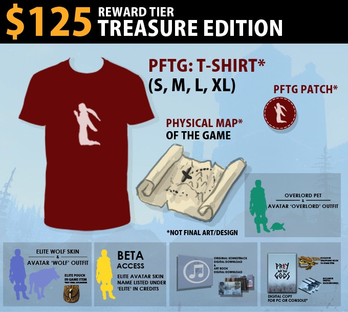 $125 Treasure Edition = Physical goods! Prey for the Gods Tshirt, Patch, and Physical Map of the game. Includes Wolf Edition.