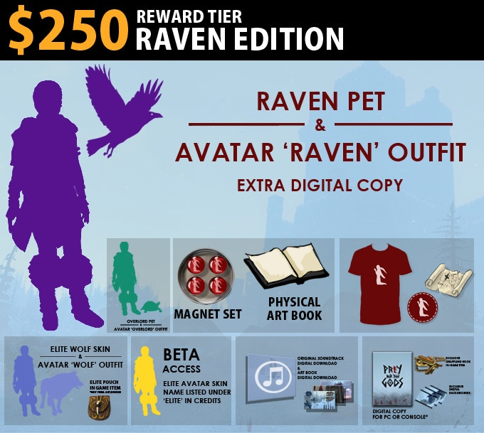 $250 Raven Edition = Raven Pet, Avatar Raven Outfit, Extra Digital Copy. Includes Treasure Edition.