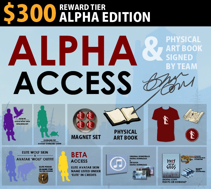 $300 Alpha Edition = Alpha access, and the team will sign your art book. Alpha to be delivered via Steam. Includes Raven Edition.