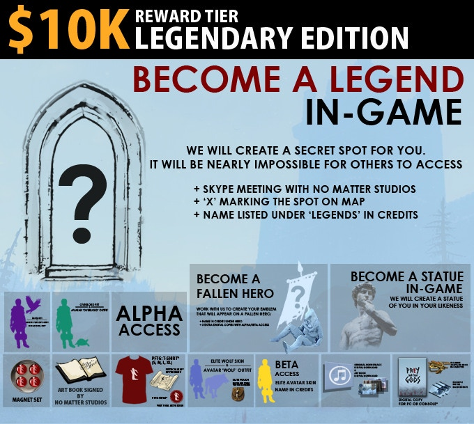 "$10K Legendary Edition = A secret spot in the game for you. It will be nearly impossible for other players to access it. You get to have a Skype meeting with the No Matter Studios team. Name listed under ""Legend"" in the credits. Includes Statue Edition."