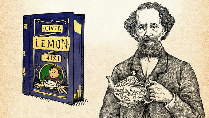 A Victorian tin and uplifting tea, invoking Oliver Twist by Charles Dickens
