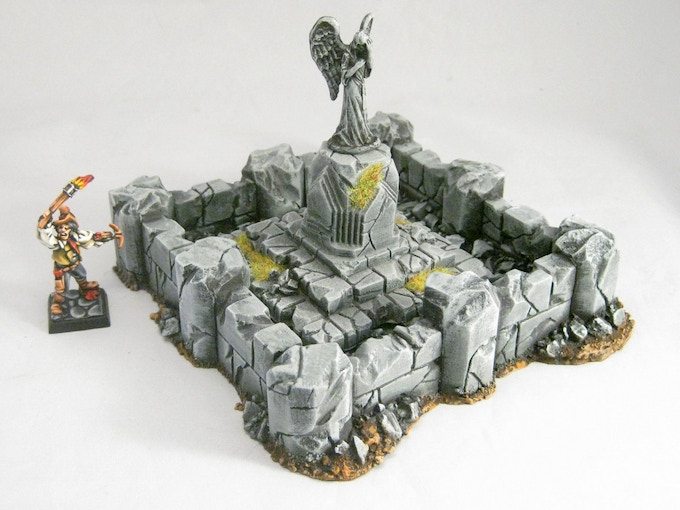A statue plinth from the Ruined Temple combined with the Ruined Fountain. Weeping Angel (by Reaper) not included.