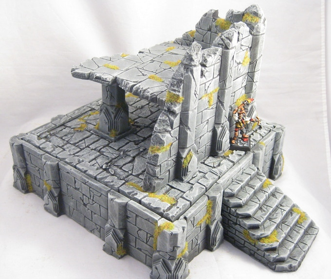 Placing a high ruin atop the temple base creates a dramatic piece of line-of-sight blocking terrain.