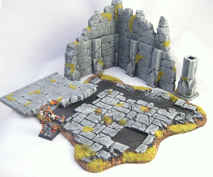 The high ruins disassemble and reassemble easily to accommodate large models or blocks of troops during a game.