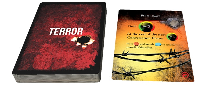 "During the Terror Phase you must reveal the top card on the Terror Deck. In this example, you drew ""Fit of Rage,"" which will temporarily raise the Threat level by 2 as your Abductor throws a dangerous – and costly – temper tantrum."