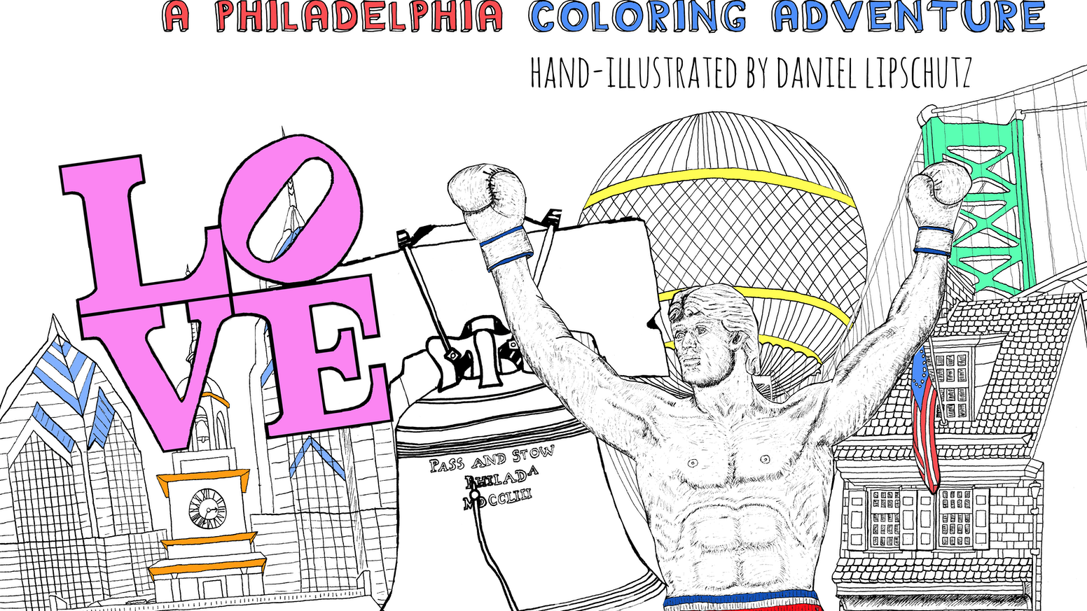 A creative escape in the form of a coloring book, featuring hand-drawn illustrations of some of Philadelphia's most iconic places.