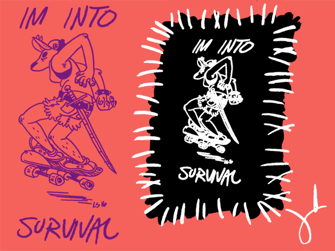 IM INTO SURVIVAL back patch by Liz Suburbia