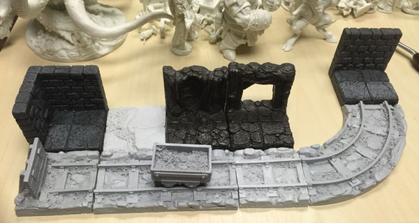 This image shows some of our original masters positioned alongside Dwarven Forge and Fat Dragon tiles.