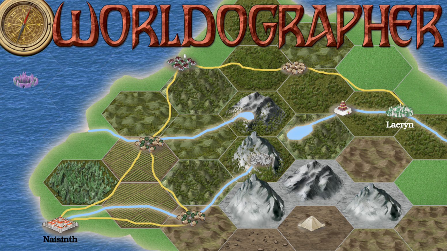New version of the Hexographer world map software! Better child maps, undo/redo, line/text tools, note generator, new realistic icons.