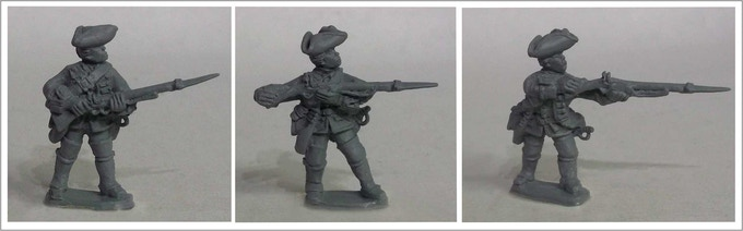 Soldiers from packs: Left SYW/FIW B3 - Rest on Your Left Arm. Centre: SYW/FIW B5 - Charge Your Bayonet. Right: SYW/FIW B2 - Push Your Bayonet