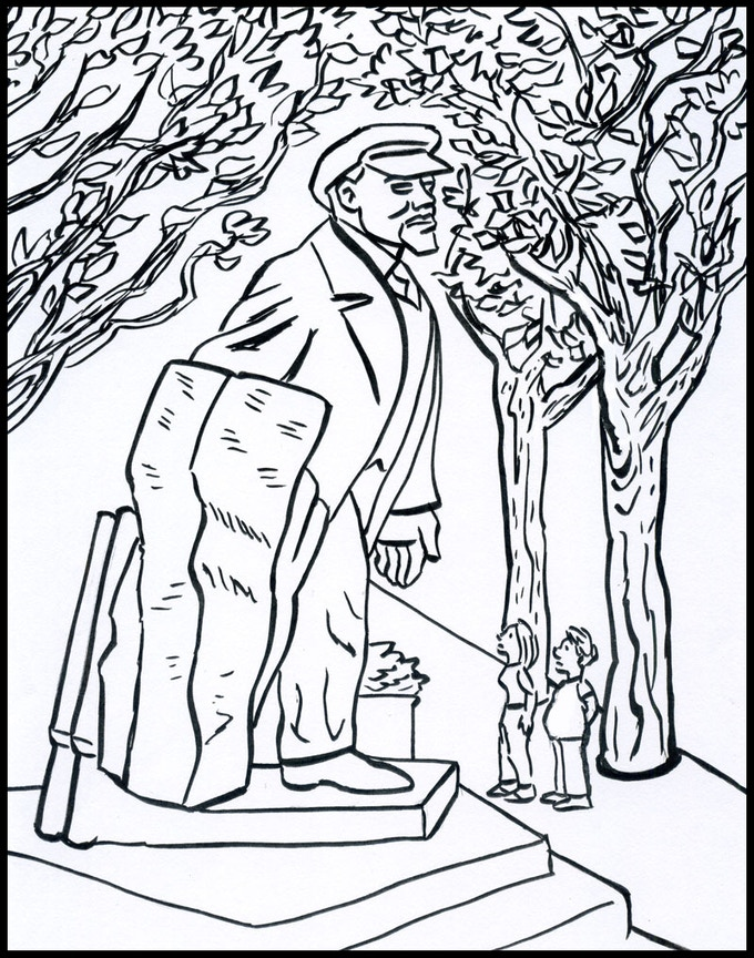 Mack and Jupiter Observe Statue of Lenin in Fremont.