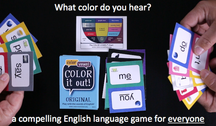 Color it out! is a dynamic card game that bridges the gap between spoken and written English, improving reading and pronunciation for all ages.