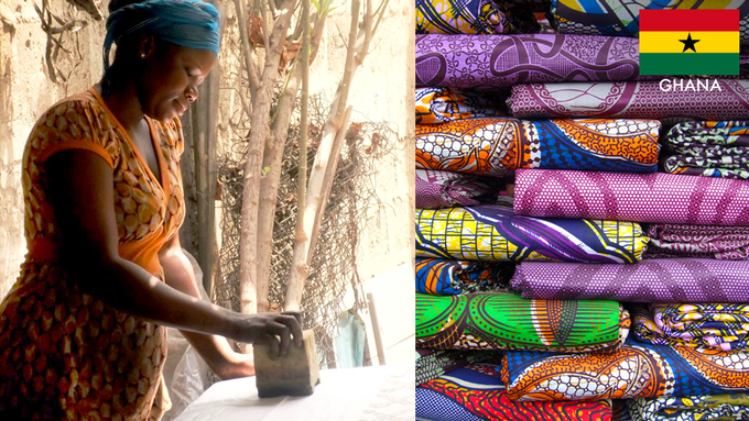 Our handmade Ghanaian fabrics are block printed by Reiss Boafo and the artisans in Accra, Ghana.