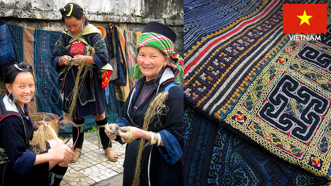 Hani of the Phan Rang Cham village in Central Vietnam makes hand woven Vietnamese fabric. Hand embroidered fabrics come from the Hmong hill tribes of Sapa and Bac Ha.