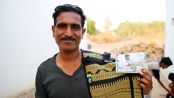 Meet Premji! This lovely man is one of Ethnotek's longest standing and most loyal weavers in India. He's been with us from the beginning and we're proud to name this new design after him.