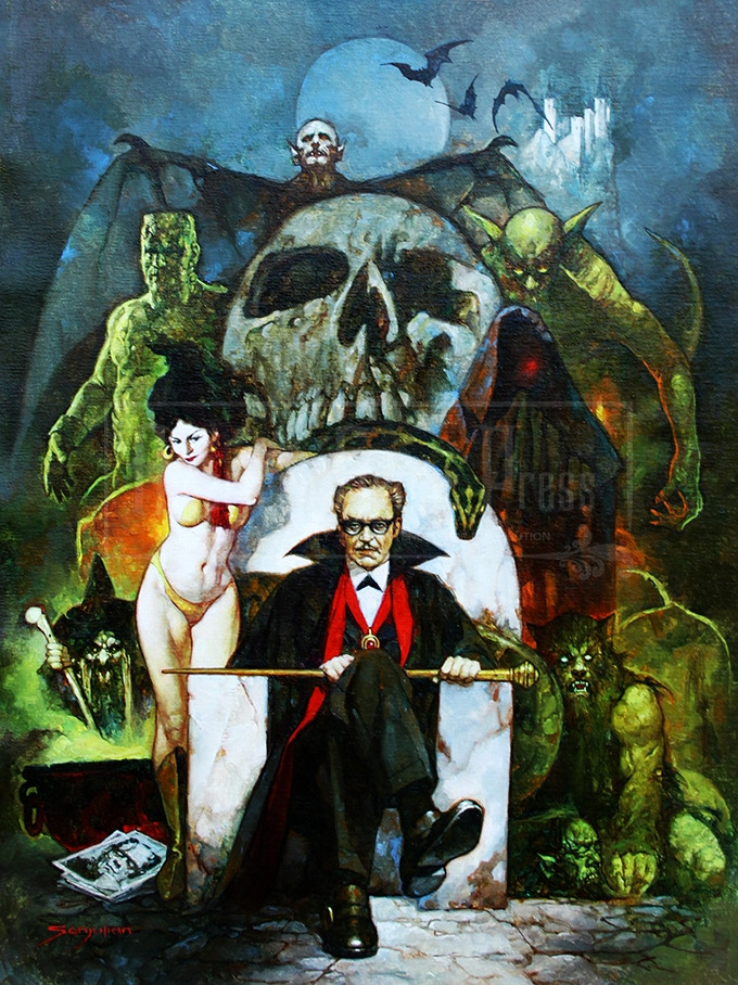 Forrest J Ackerman as DR. ACULA, as painted by Sanjulian.