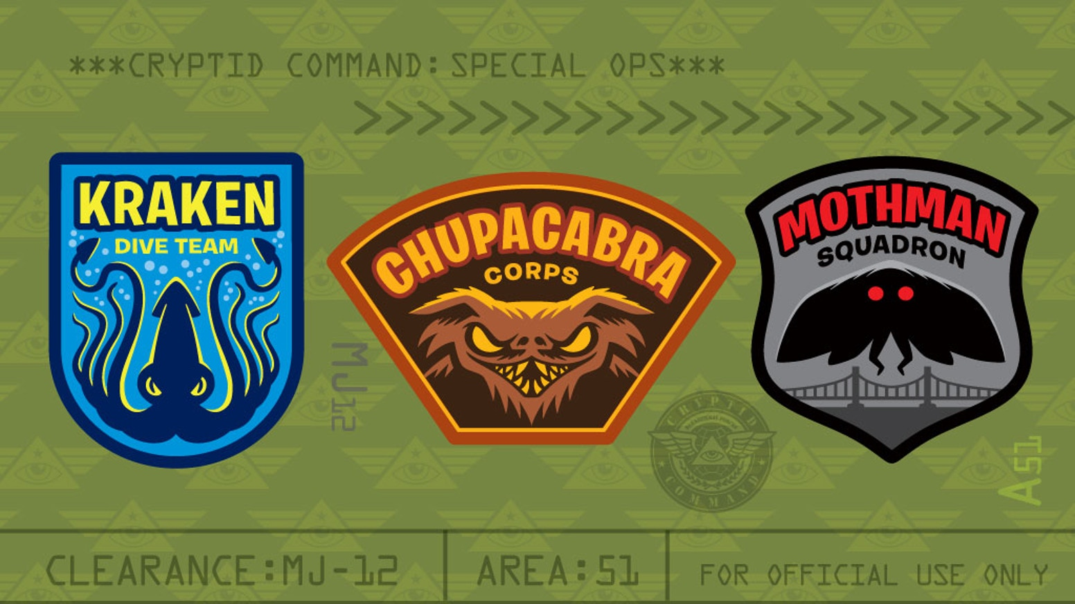 Cryptid Command 2: Mothman, Chupacabra & Kraken Patches by George