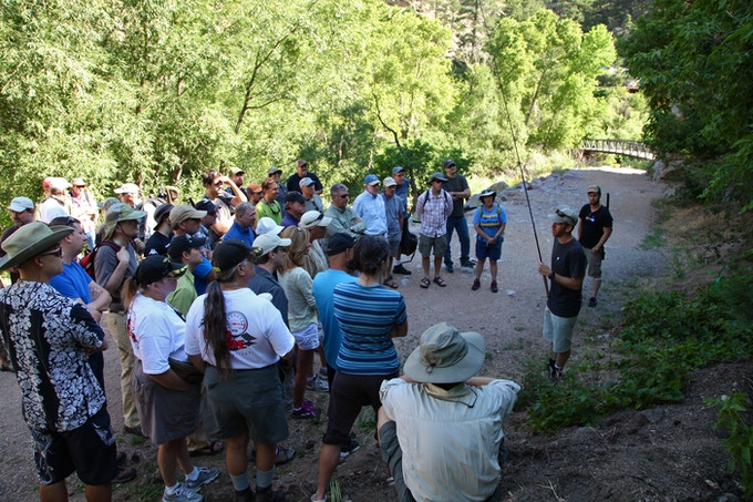 Daniel teaching a group of new anglers in Boulder, Colorado