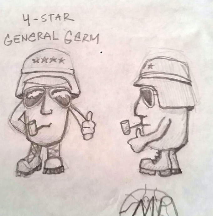 One of the earliest known napkin sketches of a Germ Fighter (c) 2006