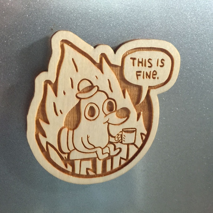 "Messed Up Life Quotes: ""This Is Fine"" Plush Dog. By KC Green"
