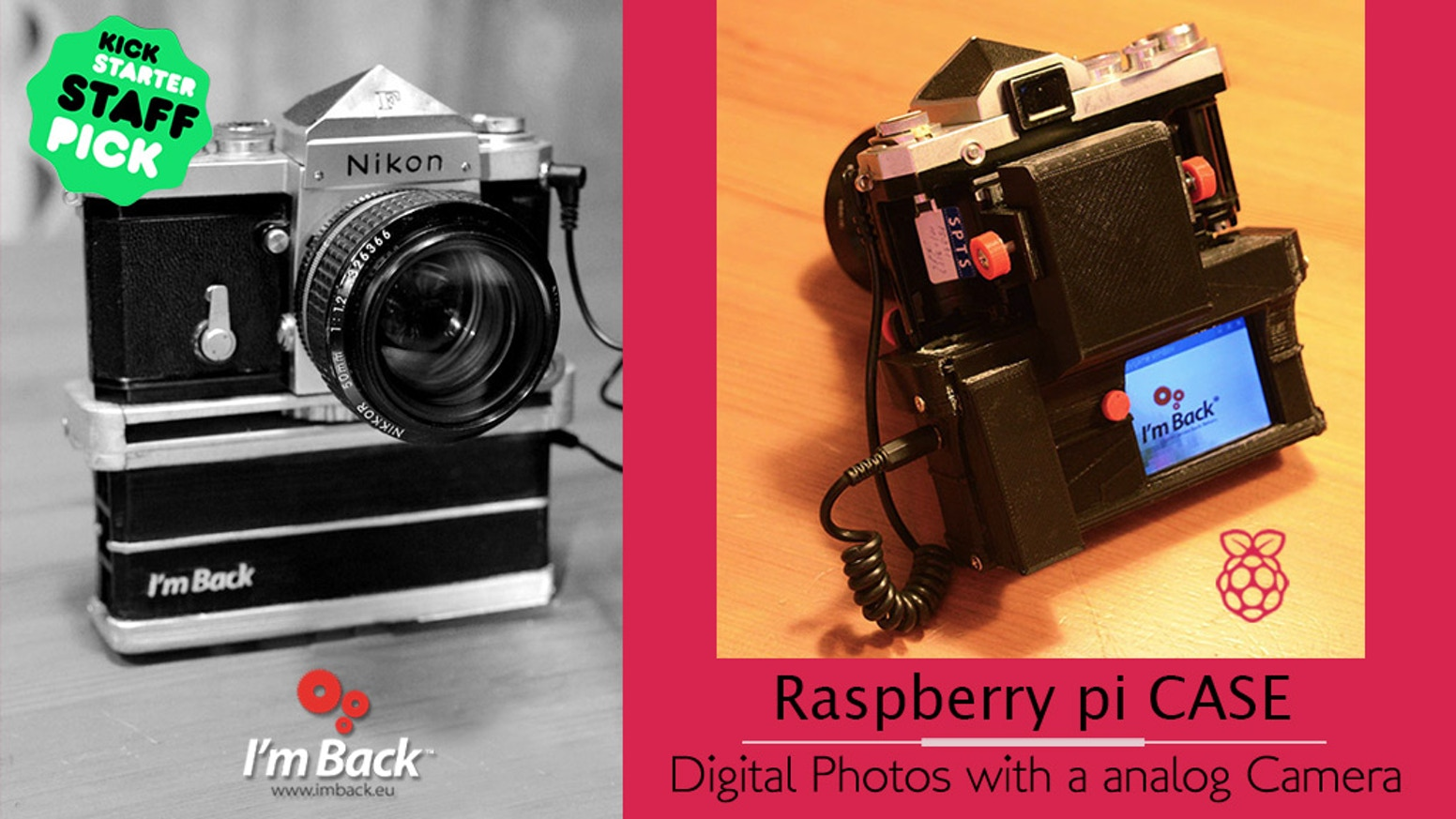 I'm Back™ protects your Raspberry Pi and gives you the possibility to take photos with many analog cameras SLR or rangefinder.