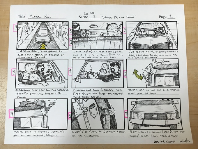 One of the Director's hand-drawn storyboards (also one of our Tier Rewards!)