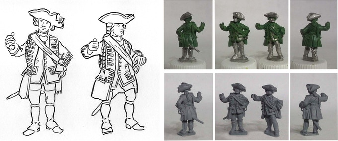 The 2 Ensigns for the first Redcoat command pack, from rough concept through sculpts to undercoated master castings.