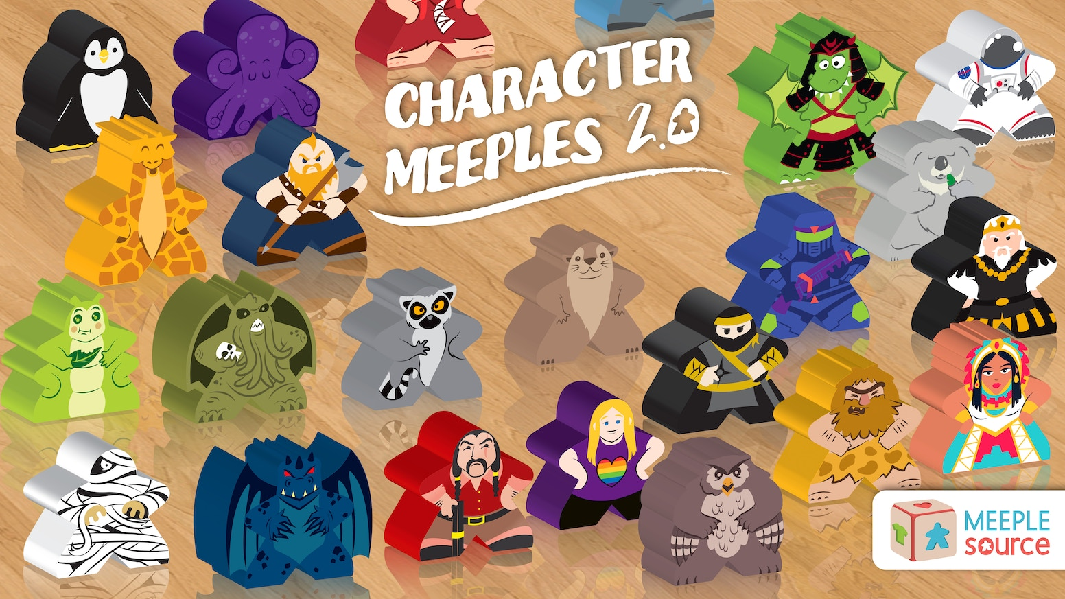 82 New Character Meeples - for Scythe, Colt Express, Codenames, Stone Age, Near and Far, Champions of Midgard, Forbidden Island & more!