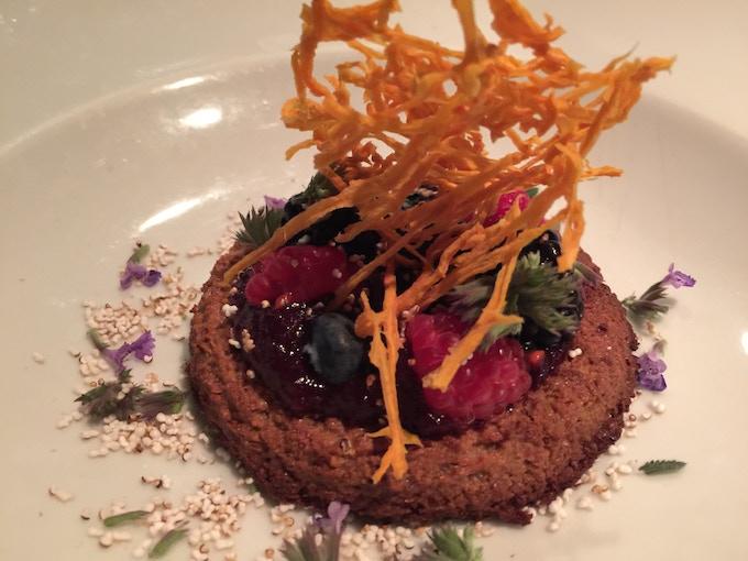 Native Tart:  Sunflower Cake, Berry Sauce, Fresh Berries, Honey Dried Squash