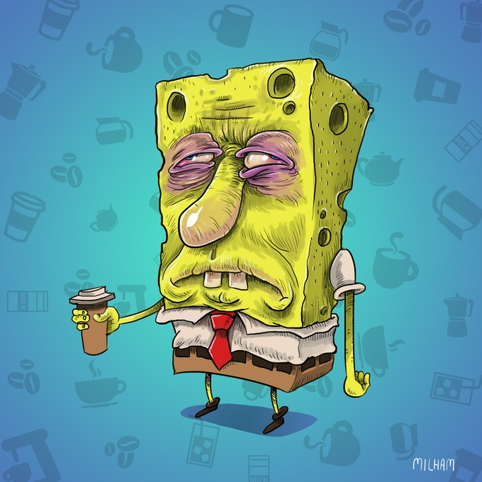 Spongebob Before Coffee - a page from the book