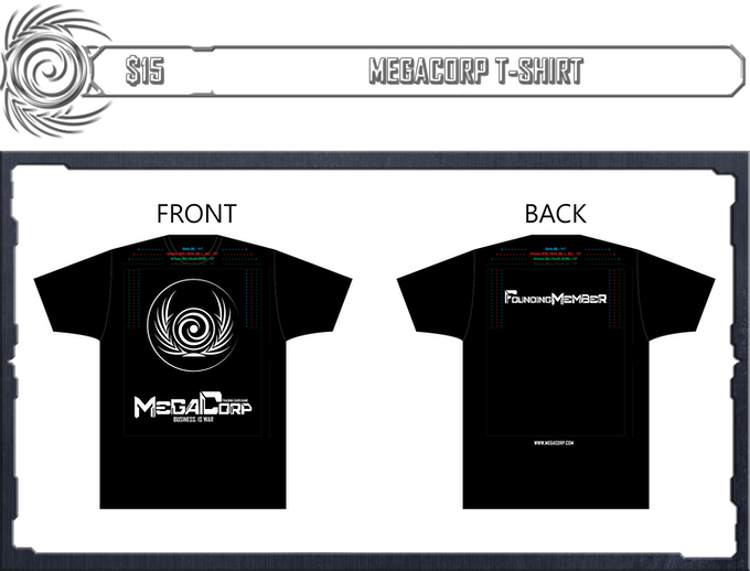 5866dfdbdc1444 Declare yourself as part of the Awakening- and grab one of these  kickstarter-exclusive founding member T-shirts. Play Megacorp in comfort!