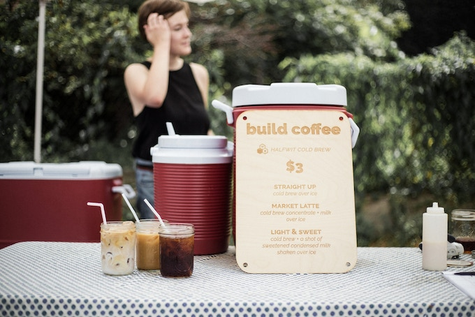 For the past couple months, we've been serving up cold brew at the farmers market [Photo: Alex Jung]