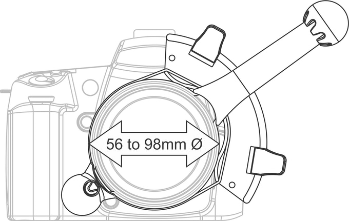 FocusShifter fits most common lenses. It is adjustable to fit lens between 56mm and 98mm in diameter.