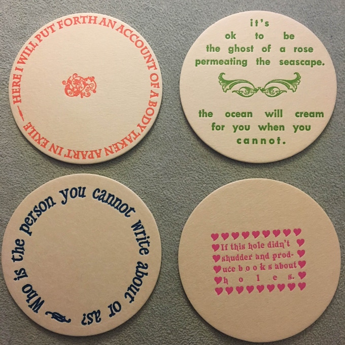 set of 2014 letterpress poetry coasters (front)