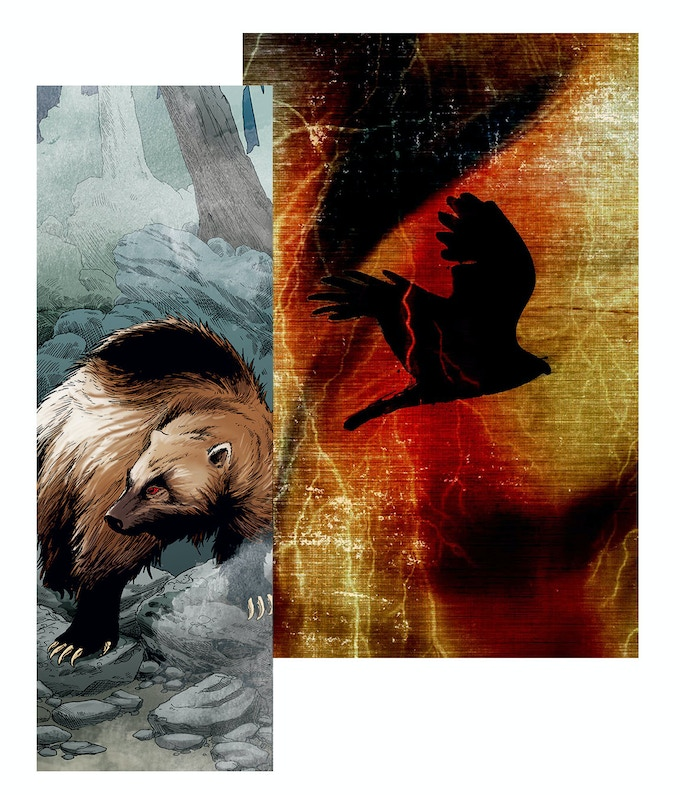 """From """"The Magic of Wolverines"""", illustrated by Scott Henderson, and """"They Who Are Lightning"""" by Elizabeth LaPensee."""