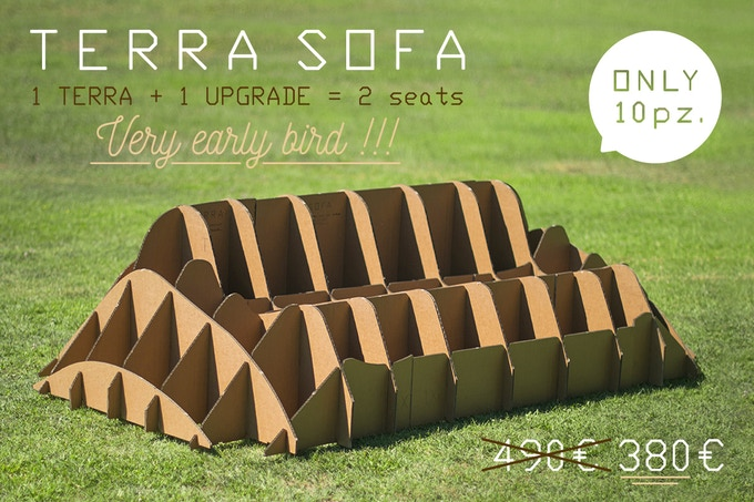TERRA! SOFA 2 seats, scale 1:1 (dimensions in 44,88 x 80,7 x 21,65 / cm 114 x 205 x 55)