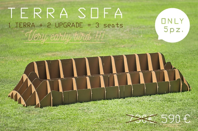 TERRA! SOFA 3 seats, scale 1:1 (in 44,88 x 116,14 x 21,65 / cm 114 x 295 x 55)