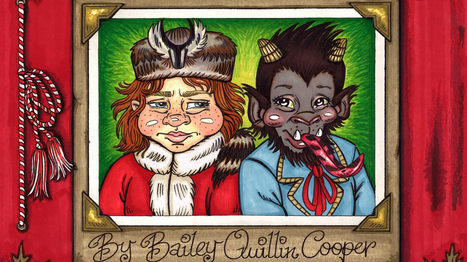 This is the only book ever made about Kris Kringle and Krampus Kringle growing up as brothers; written and illustrated by yours truly!