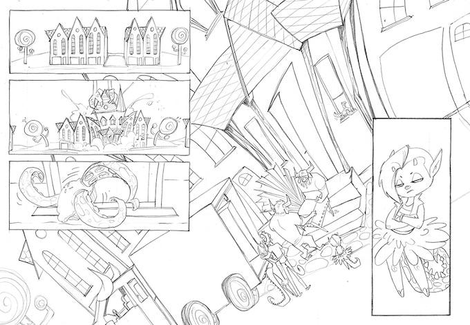 LITTLE DEVIL Page 2 line art by Penelope Gaylord