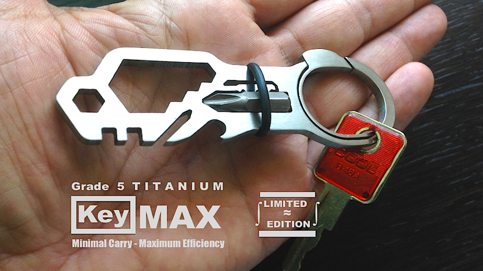 A Mini Tool-Kit to Go!  Quick Clip Push Button Key Ring Lightweight Grade 5 Titanium EDC for your Car, Bike, Home Made in the USA