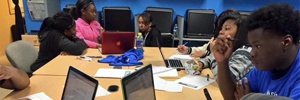 Austin students learn about police accountability through City Bureau's Task Force Tracker.