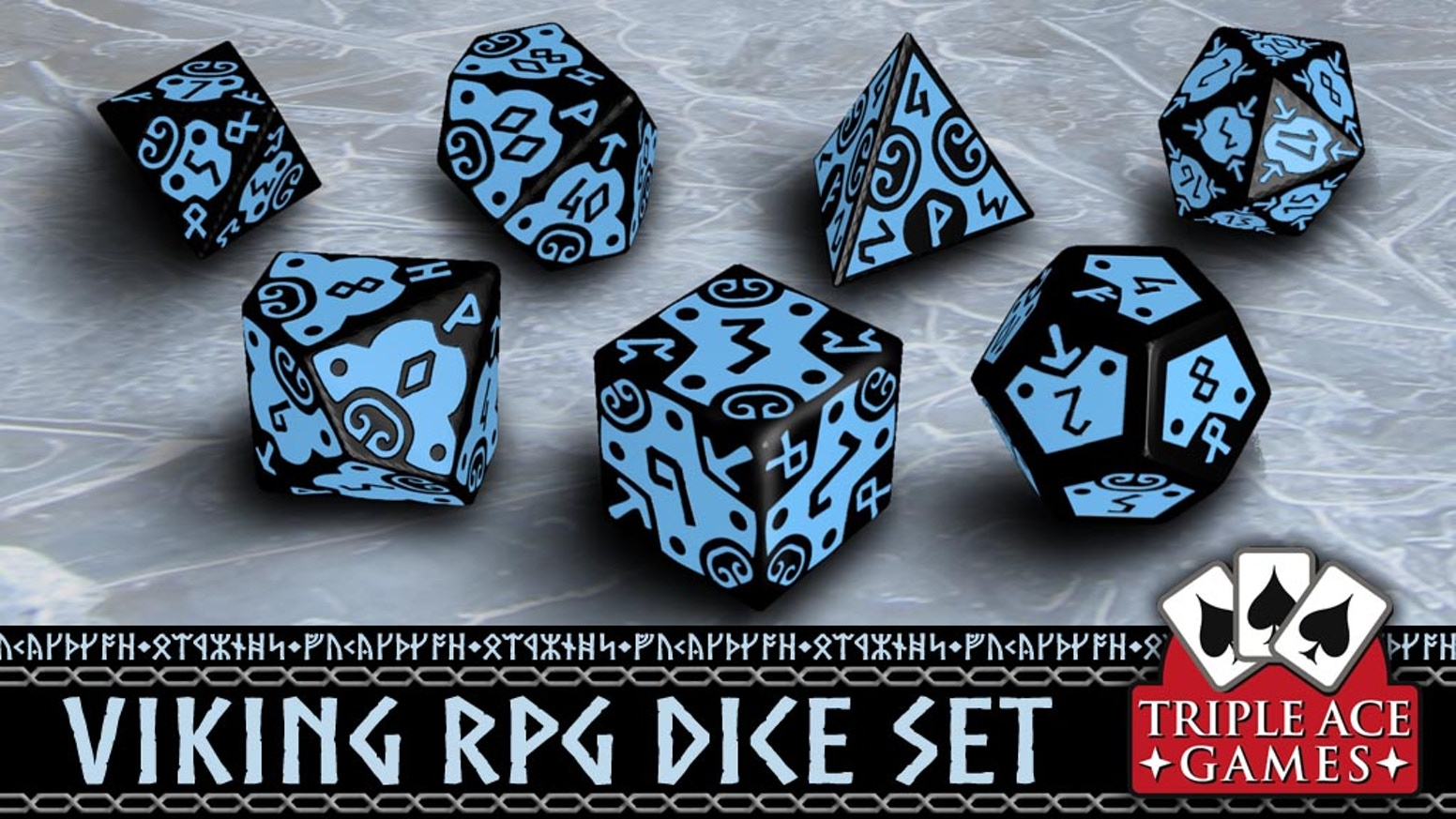 Seven 16mm engraved polyhedral dice with a Viking theme! Variety of colors available.