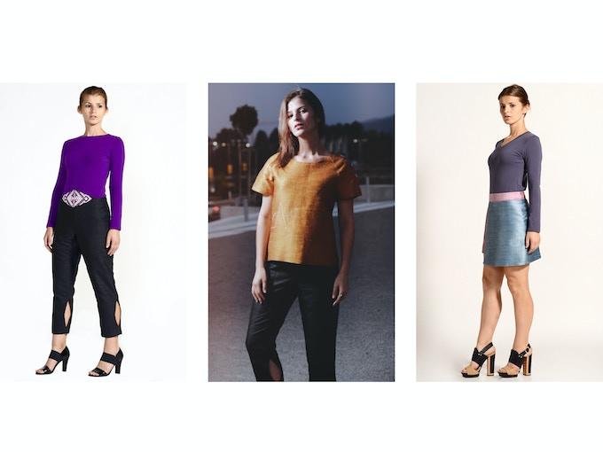$100 Backer Level - Left: Maria Raw Silk Pant; Middle: Stella Raw Silk Top; Right: Polina Raw Silk Skort