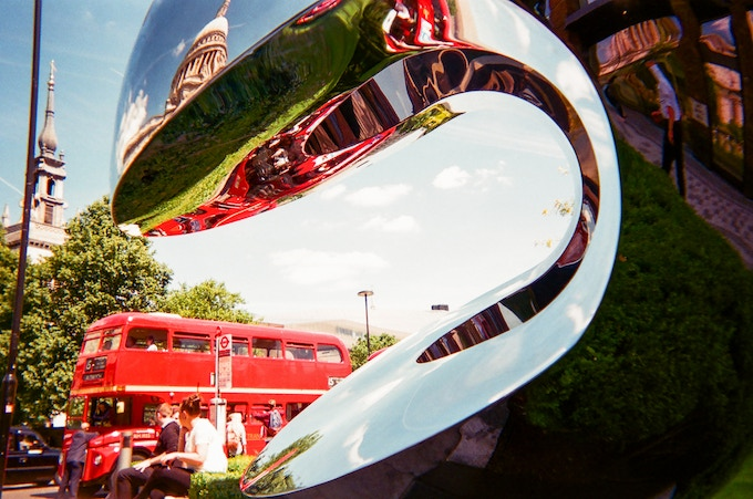 June 2017 in MyLondon calendar: London bus with sculpture by Alana del Vale