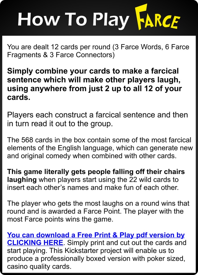 farce card game gets everyone laughing by guy walker