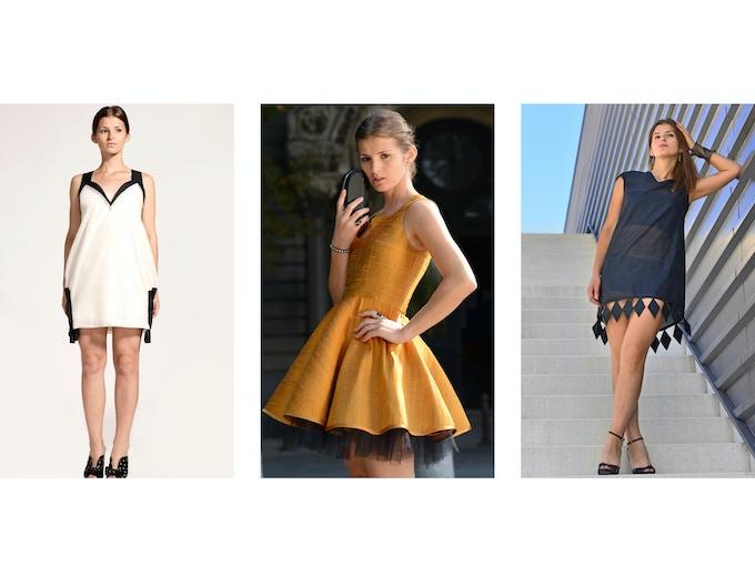 $250 Backer Level - Left: Simona Organic Silk Taffeta Dress; Middle: Nevena Raw Silk Dress; Right: Anya Organic Silk Taffeta Diamond Dress