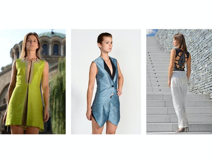 $250 Backer Level - Left: Vida Raw Silk Sheath Dress; Middle: Sasha Raw Silk Suit (Blazer + Shorts); Right: Manuela Organic Silk Taffeta Relaxed Pant