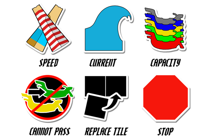 These icons determine gondola movement and player actions during play.