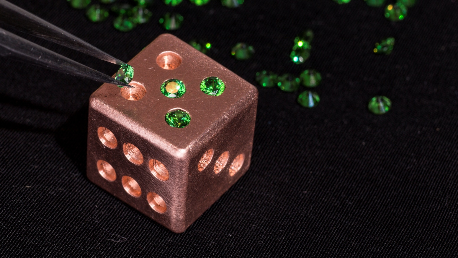 Old World & Modern Machining come together to create these stunning Copper Dice with 21 CZ stones individually hand set. LIKE NO OTHER!