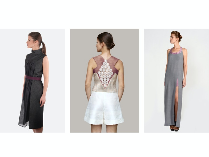 $250 Backer Level - Left: Vivian Organic Silk Taffeta/Designer Deadstock Dress; Middle: Alexandra Peace Silk/Raw Silk Vest; Right: Elena Merino Wool Maxi Dress